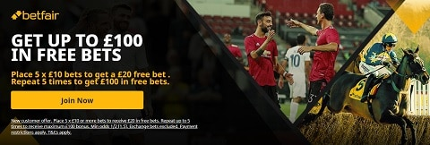 Betfair Get up to £100 in Free Bets