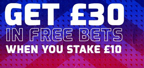 Betfred Welcome Offer -Bet £10 Get £30