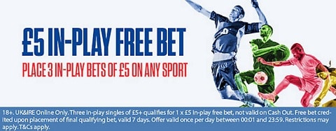 Coral £5 In-Play Free Bet