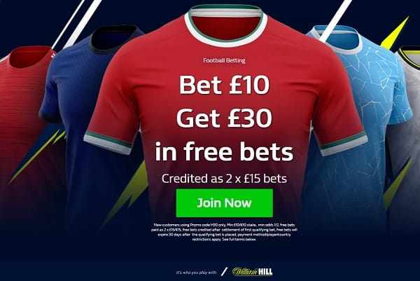 William Hill bet 10 get 30 offer